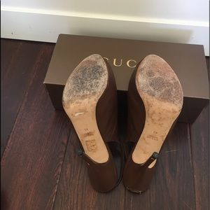 Gucci Shoes - GUCCI brown leather peep toe sling back pumps